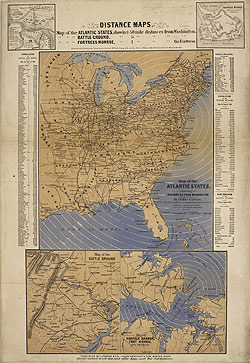 Distance Map of the Atlantic States, etc.